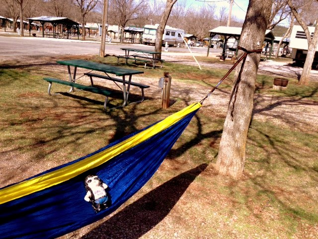 Hammock Lovin' Trixie at Happy Holiday RV Park, Rapid City, SD