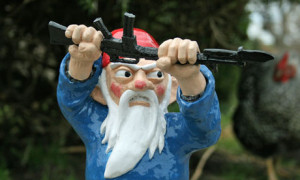 Garden gnome with bayonet
